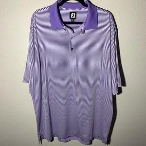 FOOTJOY Mens XXL Purple White Striped Polo